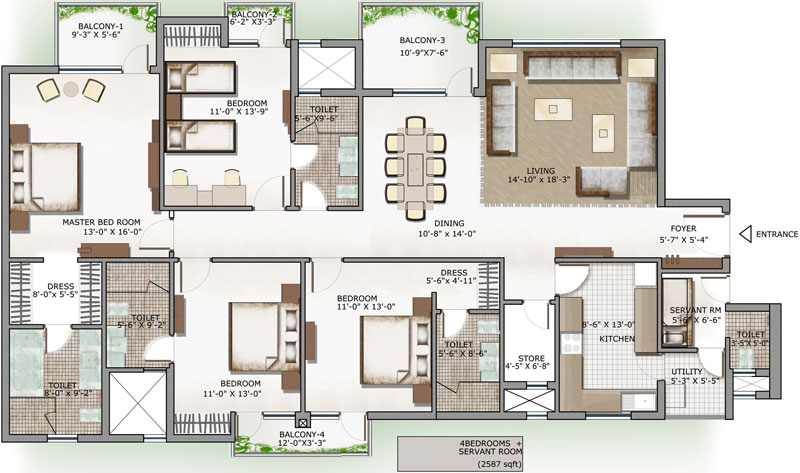 Floor plan 3c lotus panache noida sector 110 for 110 square feet room